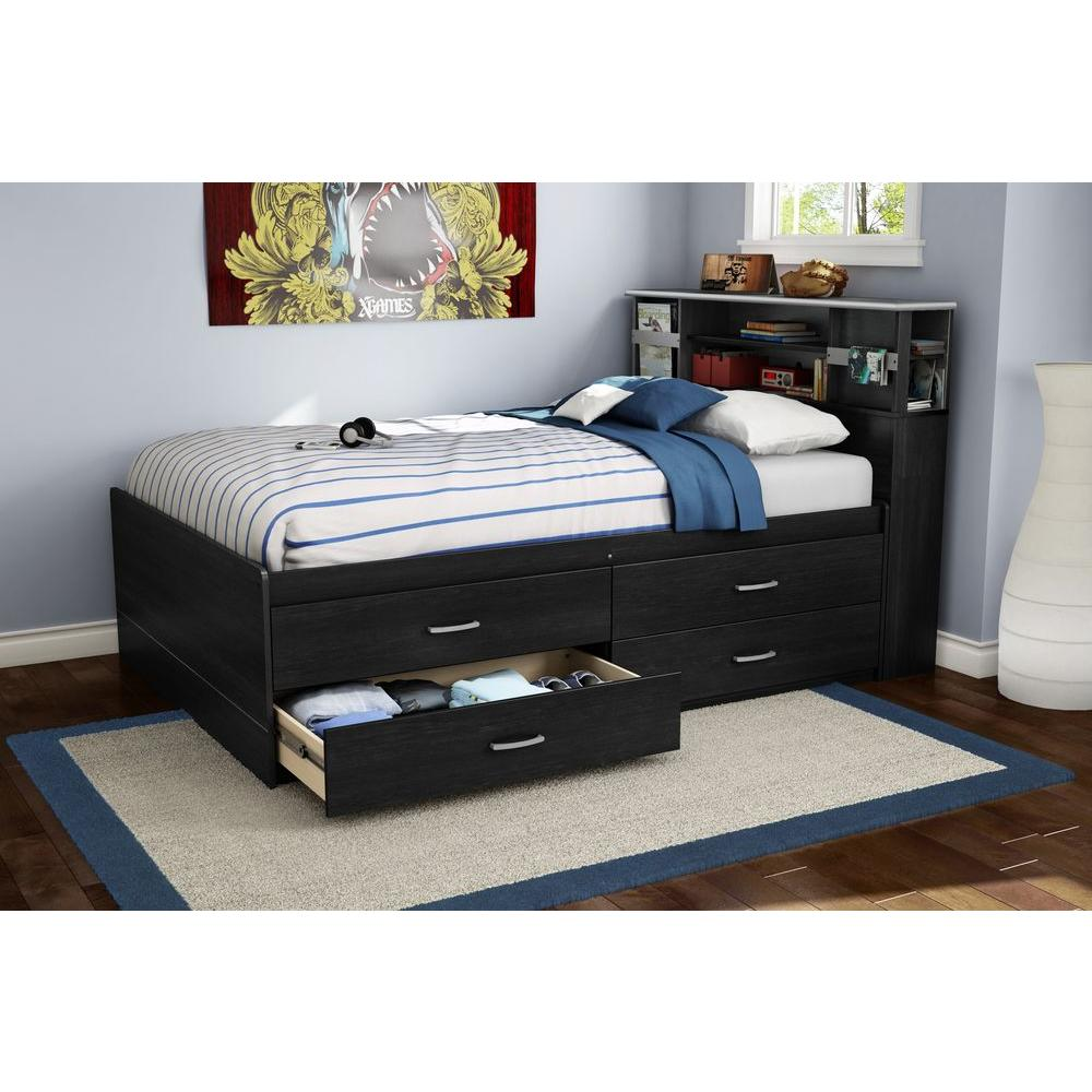 South Shore Cosmos Black Onyx And Charcoal Full Headboard 3127093 The Home Depot