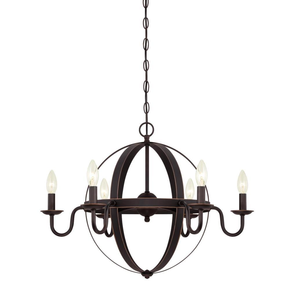 Westinghouse Brixton 6-Light Oil Rubbed Bronze Chandelier  sc 1 st  Home Depot : oil rubbed bronze chandelier lighting - www.canuckmediamonitor.org