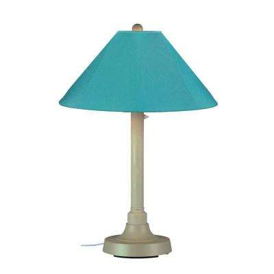 San Juan 34 in. Outdoor Bisque Table Lamp with Aruba Shade