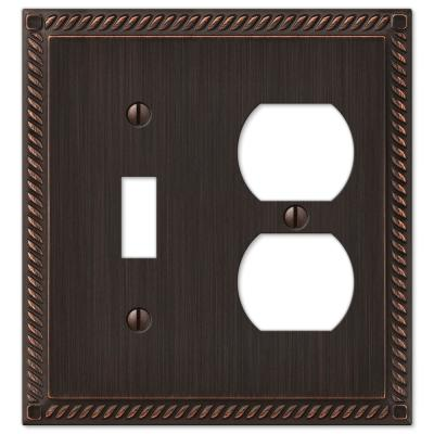 Georgian 2 Gang 1-Toggle and 1-Duplex Metal Wall Plate - Aged Bronze
