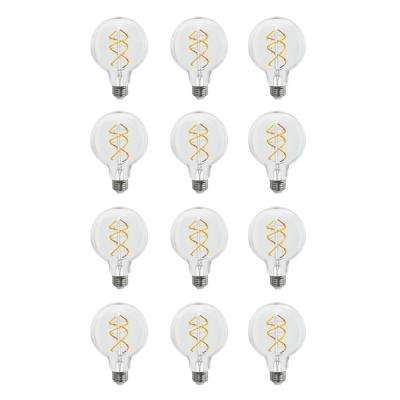 40-Watt Equivalent G25 Dimmable Spiral Filament LED Vintage Style Clear Glass Light Bulb Soft White (Case of 12)