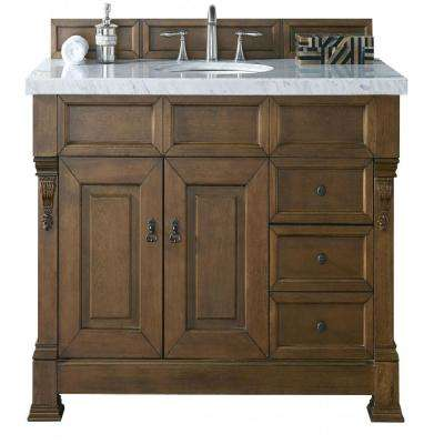 Brookfield 48 in. W Single Vanity with Drawers in Country Oak with Marble Vanity Top in Carrara White with White Basin