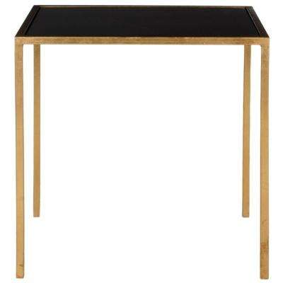 Kiley Gold and Black Glass Top End Table