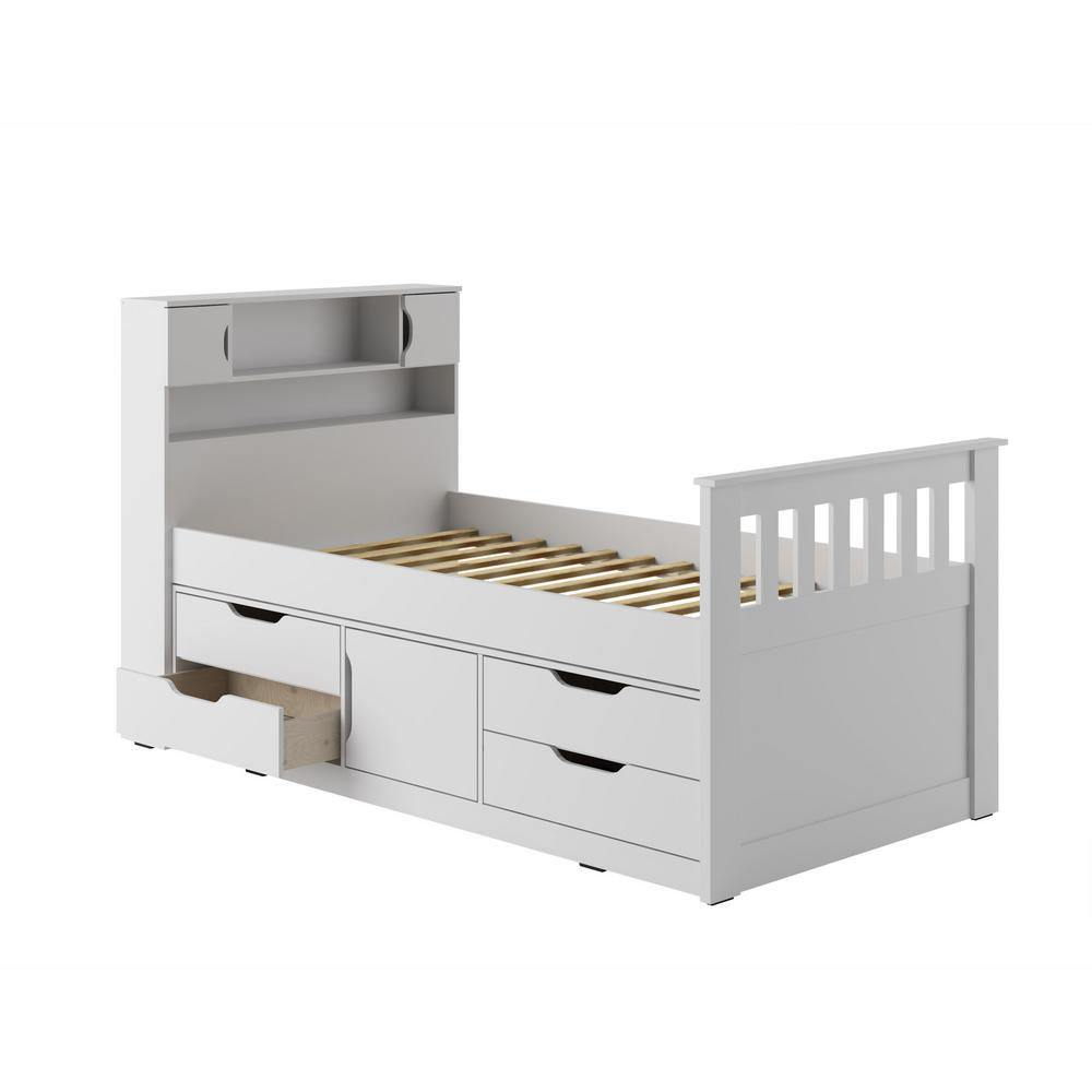 Corliving Madison Snow White Twin Single Captain S Bed