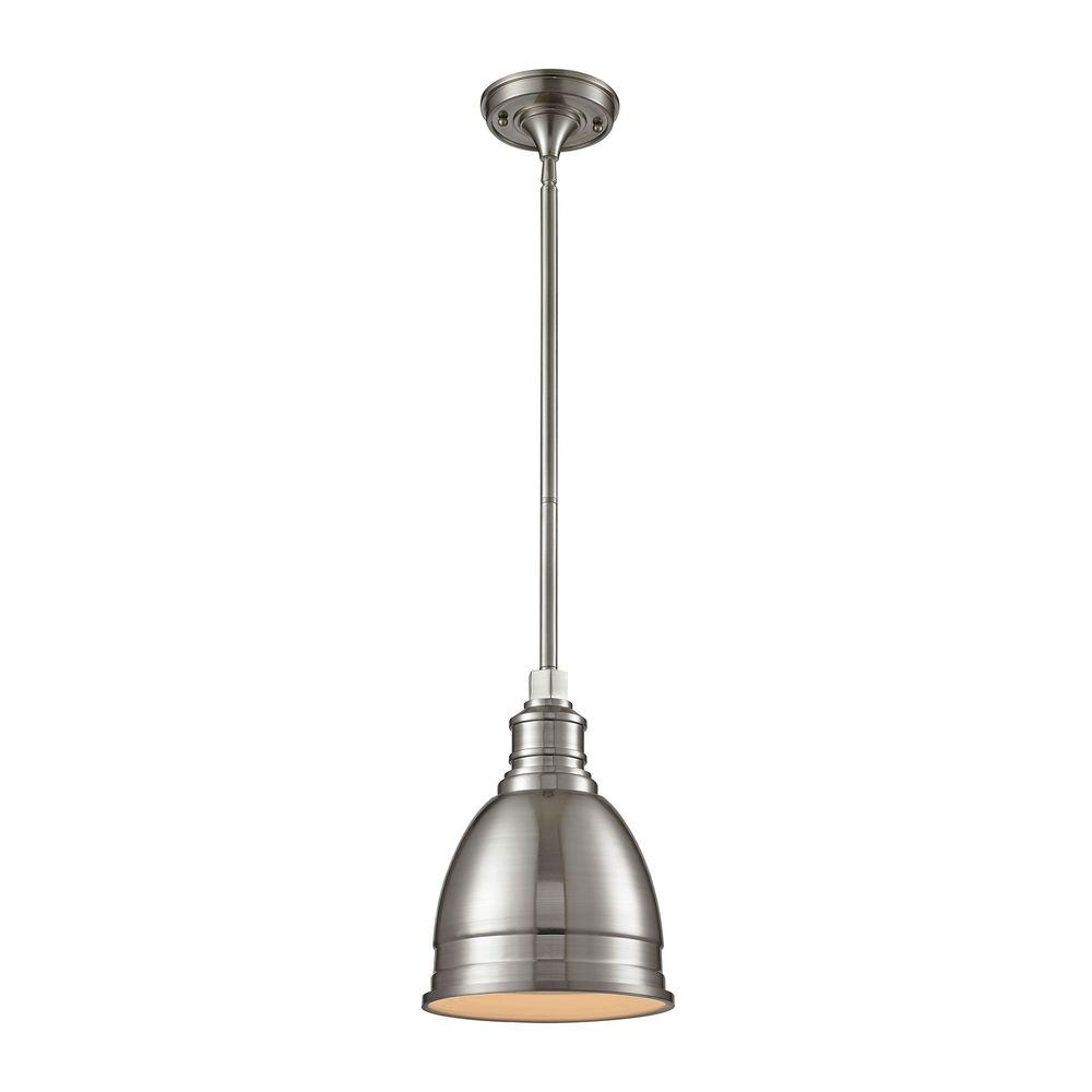 Brushed nickel pendant lights lighting the home depot 1 light die cast aluminum hardware brushed nickel restoration pendant with metal shade aloadofball Gallery