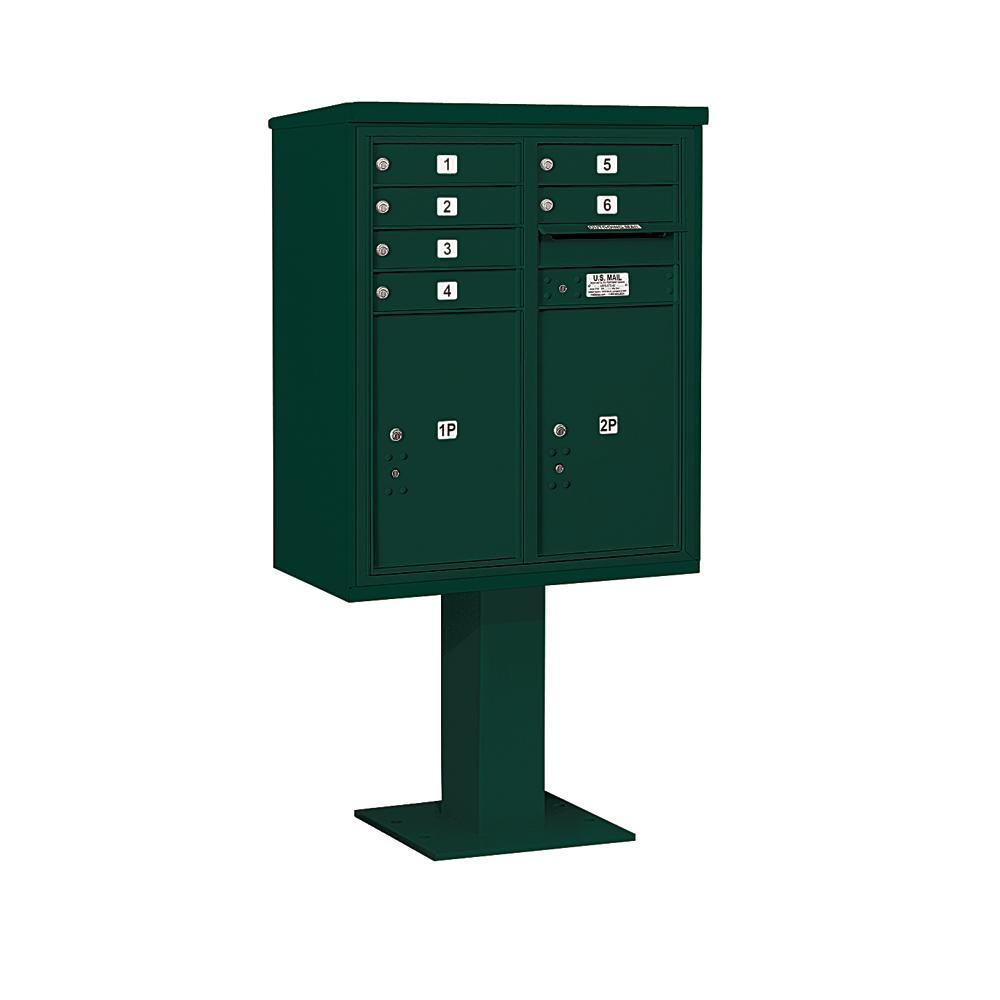 3400 Horizontal Series 6-Compartment 2-Parcel Locker Pedestal Mount Mailbox
