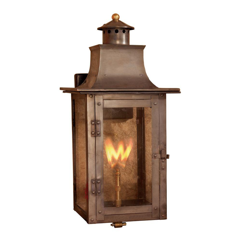 Titan Lighting Maryville 20 in. Outdoor Washed Pewter Gas Wall Lantern