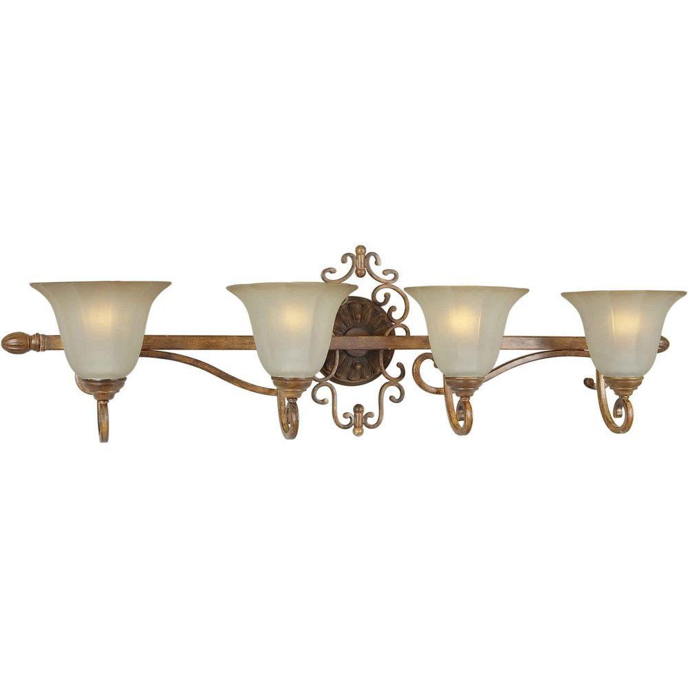 Talista 4-Light Rustic Sienna Bath Vanity Light with Shaded Umber Glass Shade