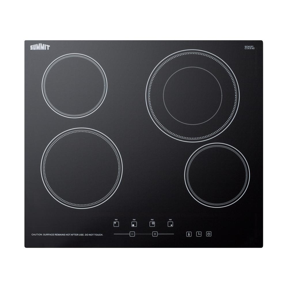 Summit 24 in. Radiant Electric Cooktop in Black with 4 El...