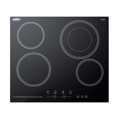 24 in. Radiant Electric Cooktop in Black with 4 Elements including Dual Zone Element