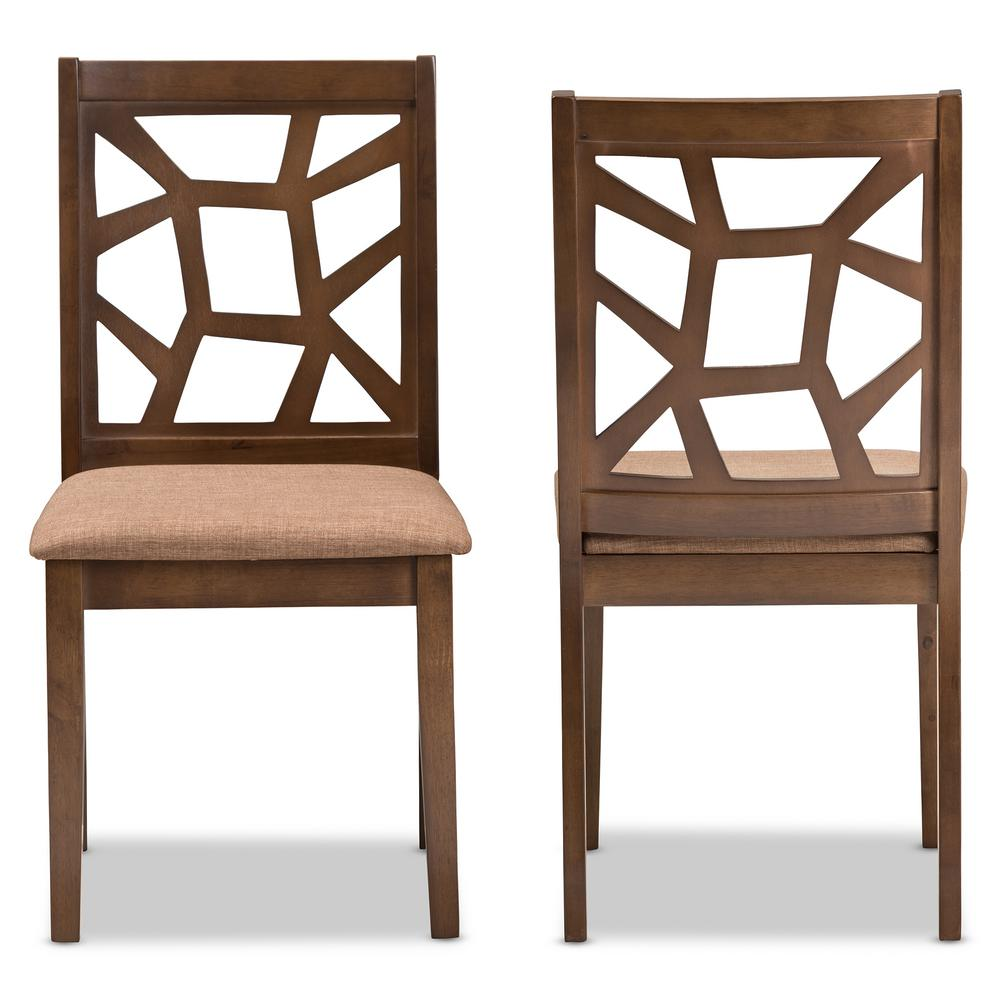"Abilene Light Brown and ""Walnut"" Brown Fabric Dining Chair (Set of"
