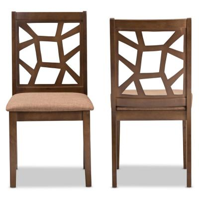 """Abilene Light Brown and """"Walnut"""" Brown Fabric Dining Chair (Set of 2)"""