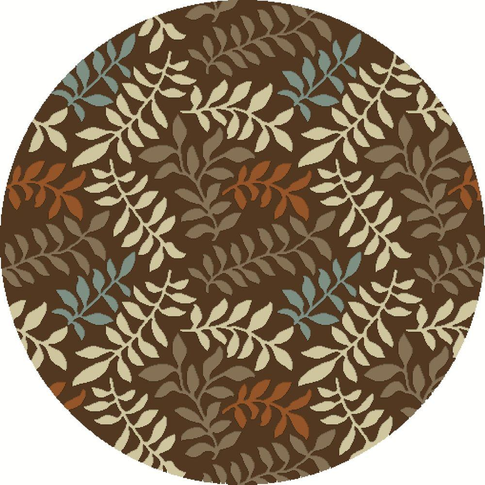 Chester Leafs Brown 5 ft. 3 in. Round Area Rug