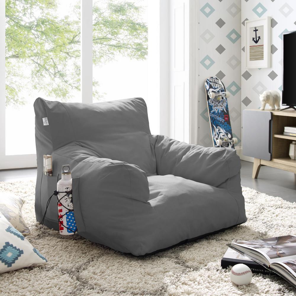 Loungie Comfy Light Grey Bean Bag Arm Chair Nylon Foam ...