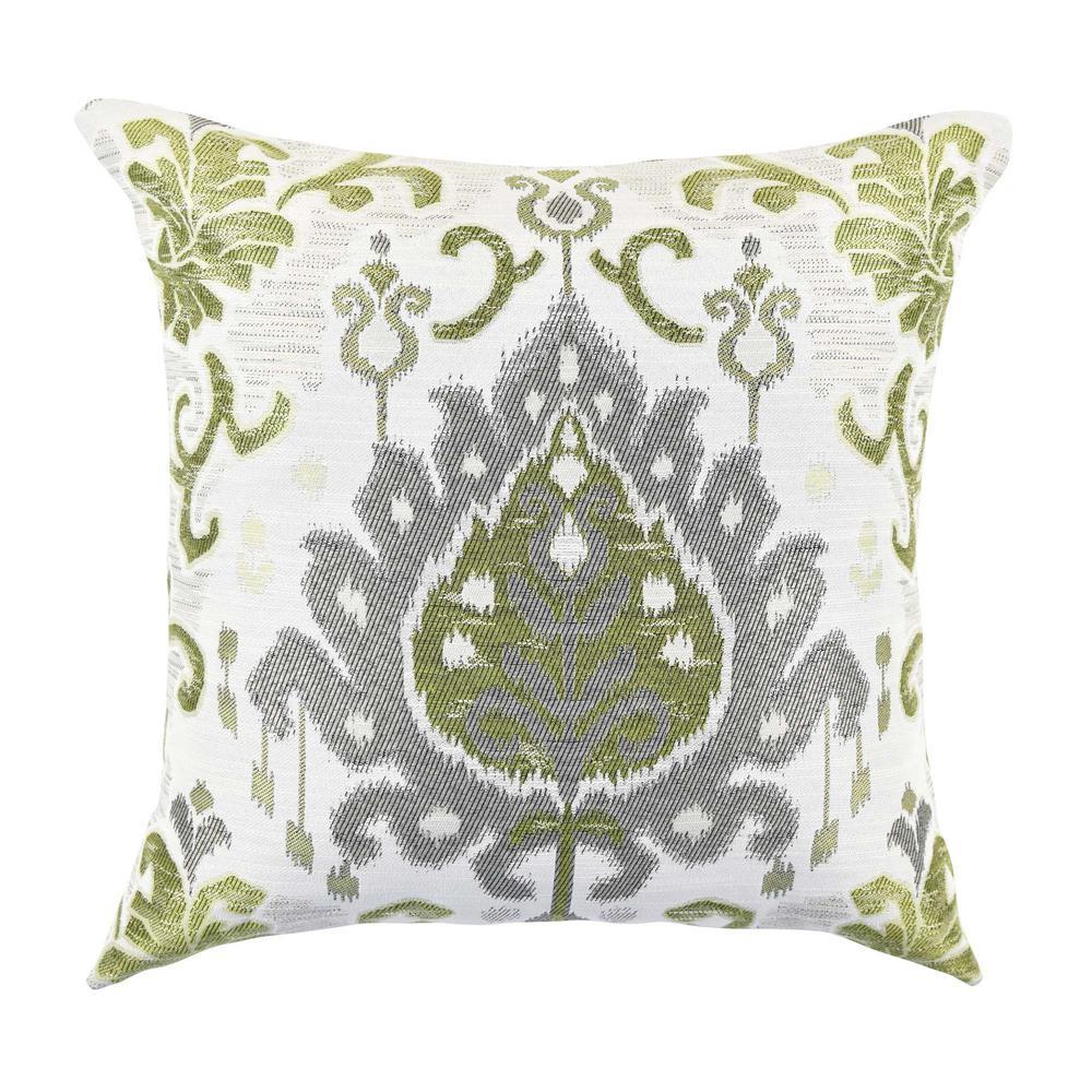 Green and Grey Ikat Designer Throw Pillow