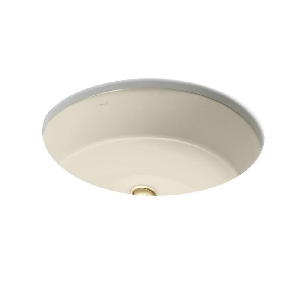 Kohler Verticyl Oval Vitreous China Undermount Bathroom Sink In Almond With Overflow Drain K