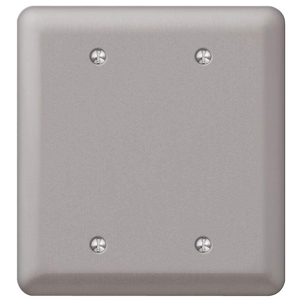 Declan 2 Gang Blank Steel Wall Plate - Pewter