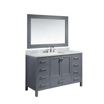 London 54 in. W x 22 in. D x 36 in. H Vanity in Gray with Marble Vanity Top in Carrara White, Basin and Mirror