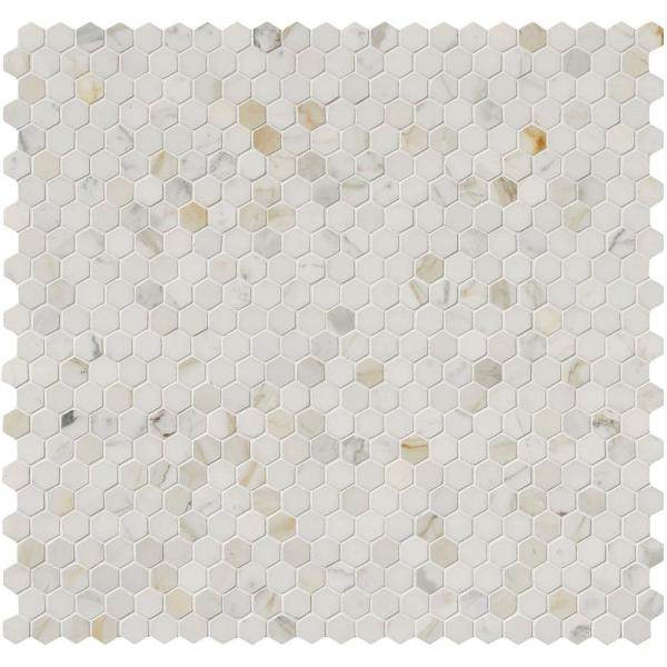 Calacatta Gold Hexagon 12 in. x 12 in. x 10mm Polished Marble Mesh-Mounted Mosaic Tile (10 sq. ft./Case)