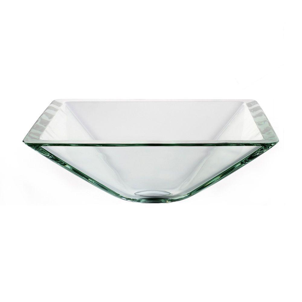 Kraus Square Glass Vessel Sink In Clear Gvs 901 19mm The Home Depot