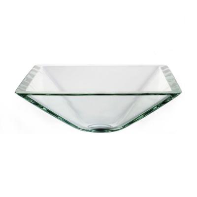 Square Glass Vessel Sink in Clear