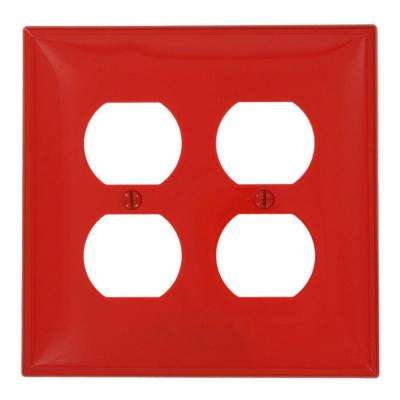 2-Gang 2 Duplex Receptacles, Midway Size Nylon Wall Plate - Red