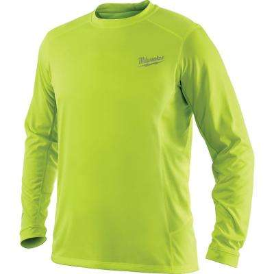 Men's Large Workskin High Visibility Yellow Long Sleeve Light Weight Performance Shirt