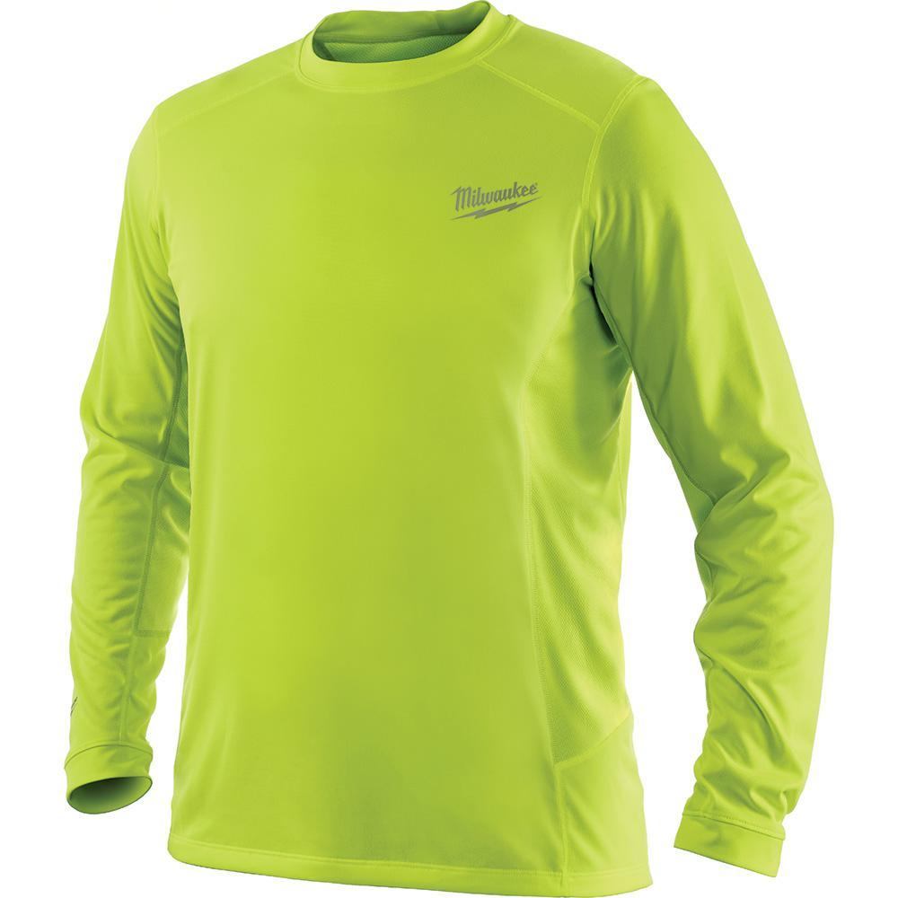 Men's Large Workskin High Visibility Yellow Long Sleeve Light Weight Performance Shirt