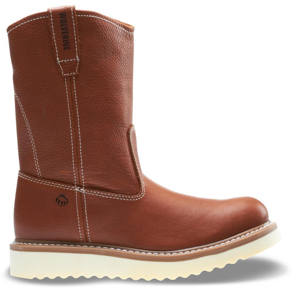 "Men's Work Wedge 12M Tan Full-Grain Leather Steel Toe 10"" Wellington"
