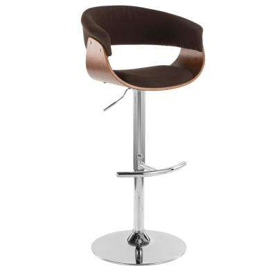 Vintage Mod Walnut and Espresso Adjustable Barstool