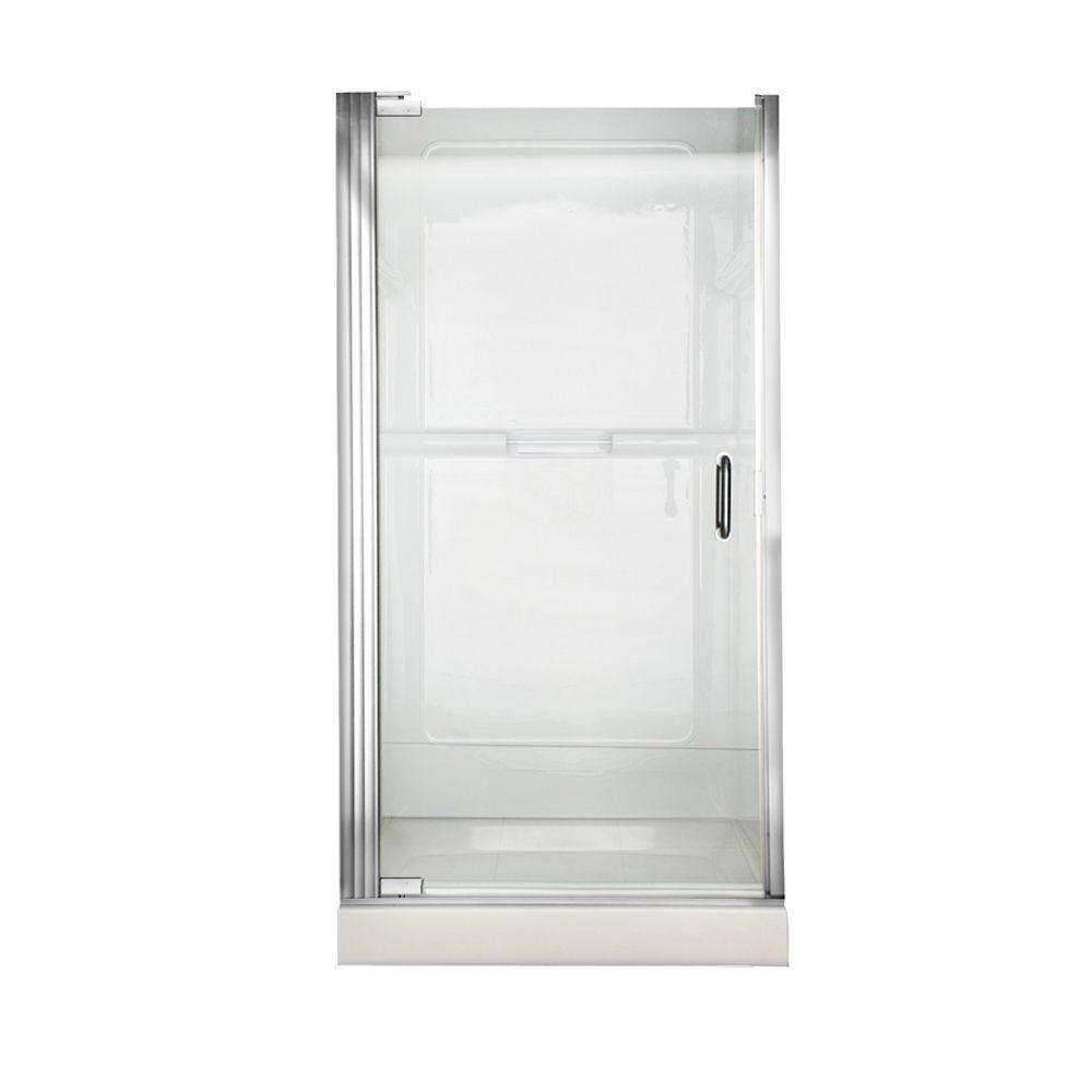 Euro 36 in. x 65.5 in. Semi-Framed Continuous Pivot Shower Door