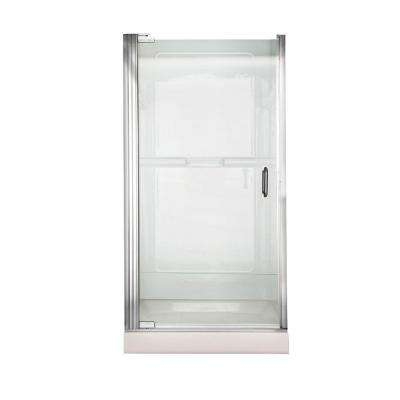 Euro 36 in. x 65.5 in. Semi-Framed Continuous Pivot Shower Door in Silver with Clear Glass
