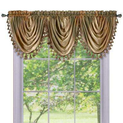Semi-Opaque Ombre Waterfall 42 in. L Polyester Valance in Earth