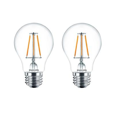 40-Watt Equivalent A19 Dimmable with Warm Glow Dimming Effect Clear Glass LED Light Bulb Soft White (2700K) (8-Pack)