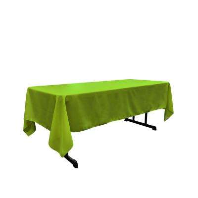 60 in. x 102 in. Lime Polyester Poplin Rectangular Tablecloth