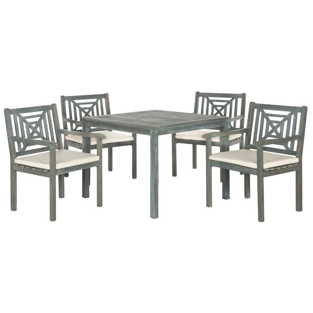 Safavieh Del Mar Ash Gray 5-Piece Patio Dining Set with Beige Cushions