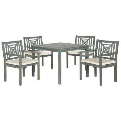 Del Mar Ash Gray 5-Piece Patio Dining Set with Beige Cushions