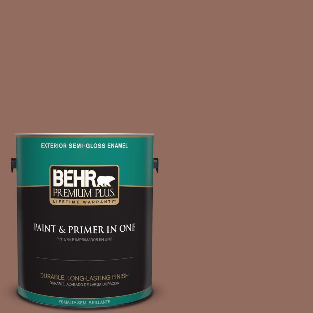 1-gal. #220F-6 Chocolate Curl Semi-Gloss Enamel Exterior Paint