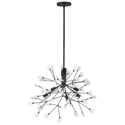 6-Light Dark Bronze Chandelier with Frosted Glass Shade