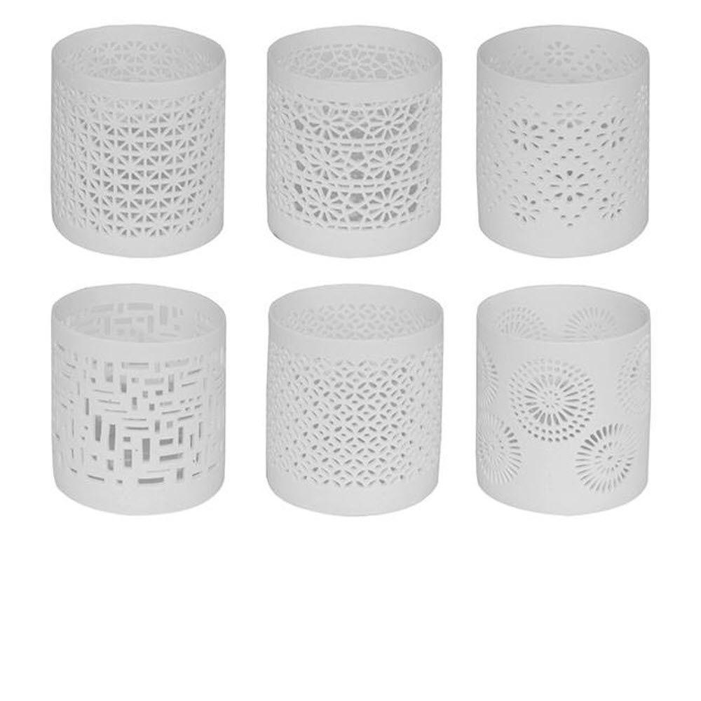 Home Decorators Collection Milaya 3 in. H White Ceramic Votive (Set of 6)