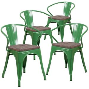 Green Restaurant Chairs Set Of 4