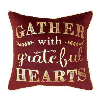 Gather with Grateful Hearts Velvet Thanksgiving 18 in. x 18 in. Pillow