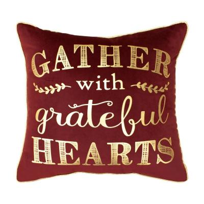 Gather With Grateful Hearts Velvet Thanksgiving Polyester Standard Throw Pillow