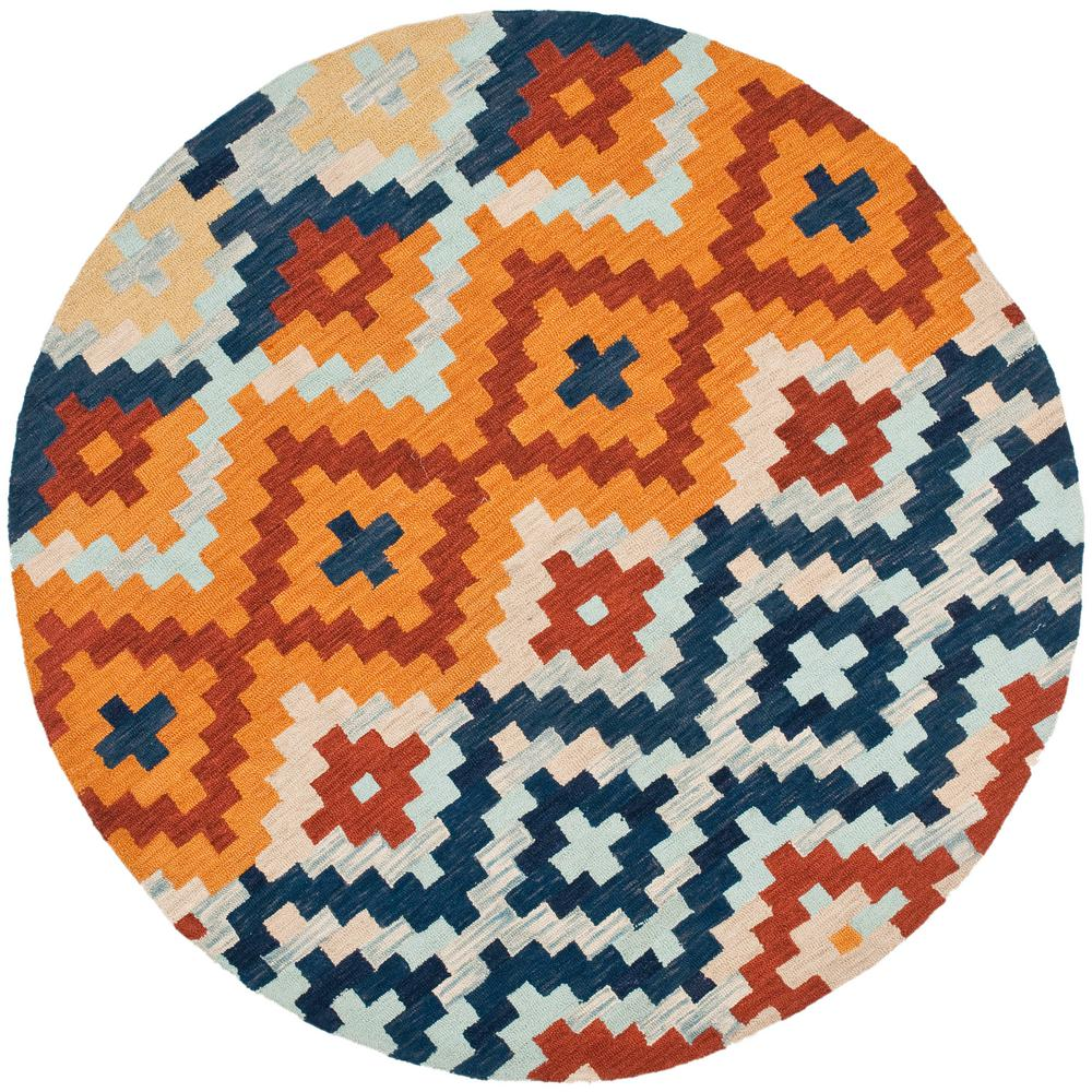 Safavieh Chelsea Orange Multi 3 Ft X 3 Ft Round Area Rug