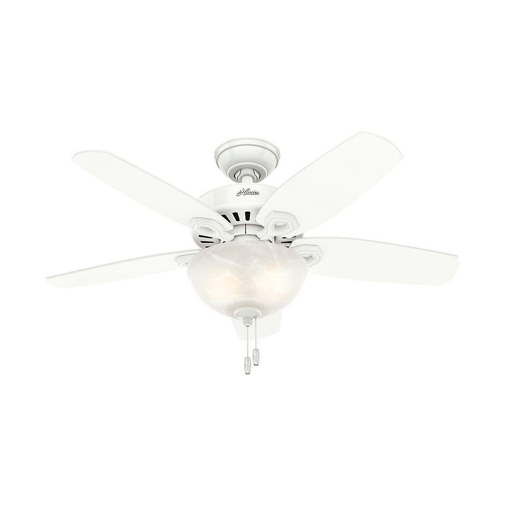 Best Ceiling Fan For Large Great Room: Hunter Builder Small Room 42 In. Indoor Snow White Bowl