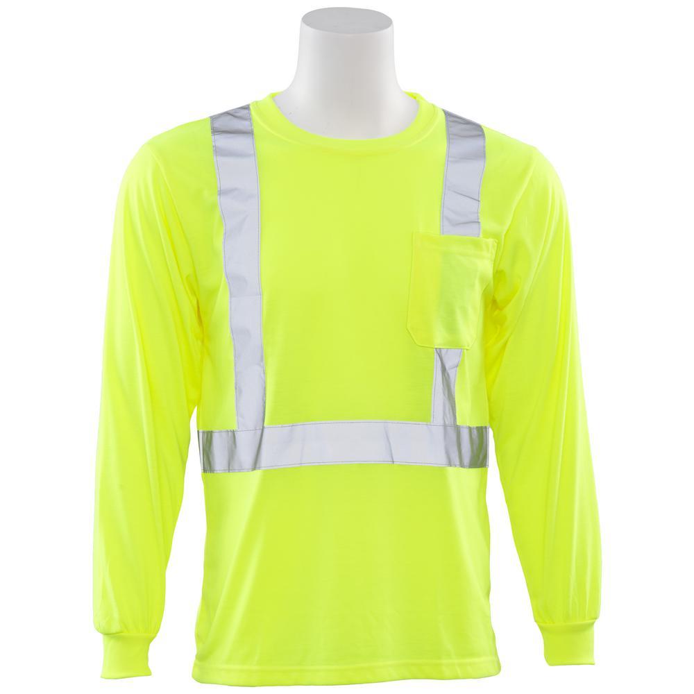 9602S 5X Class 2 Long Sleeve Hi Viz Lime Unisex Poly Jersey T-Shirt