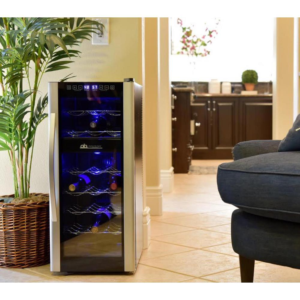 Dual Zone 13.6 in. 21-Bottle Freestanding Wine Cooler