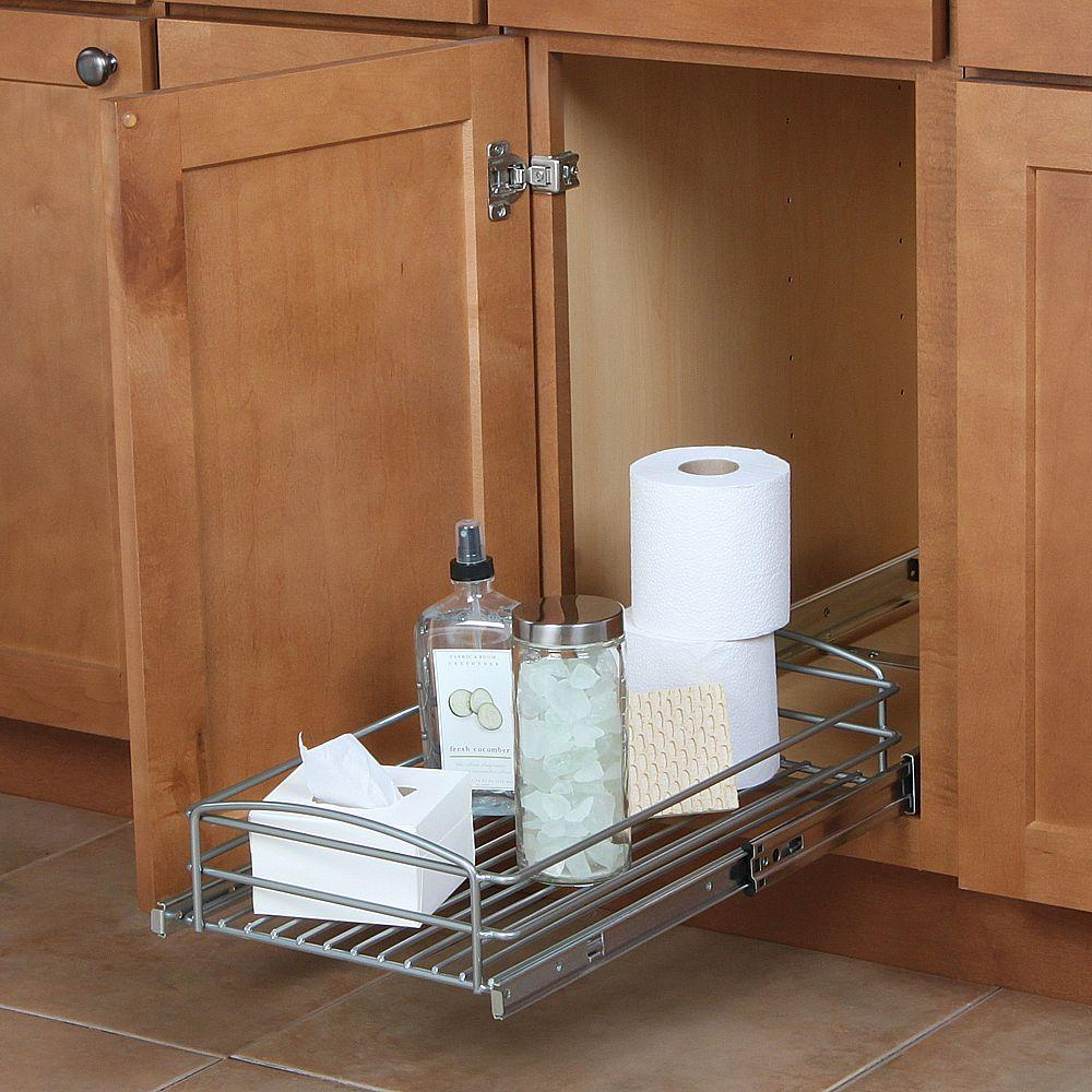 Kitchen Cabinet Pull Out Organizer: Pull Out Basket Organizer Kitchen Cabinet Drawer Holder