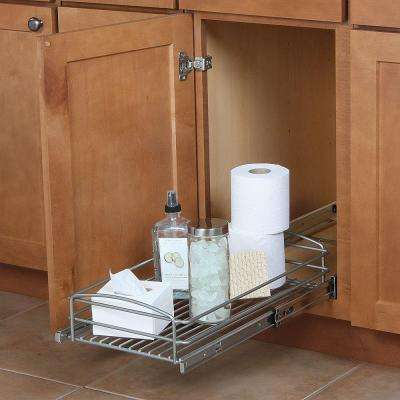 5 in. H x 12 in. W x 20 in. D Multi-Use Pull-Out Basket Cabinet Organizer in Silver