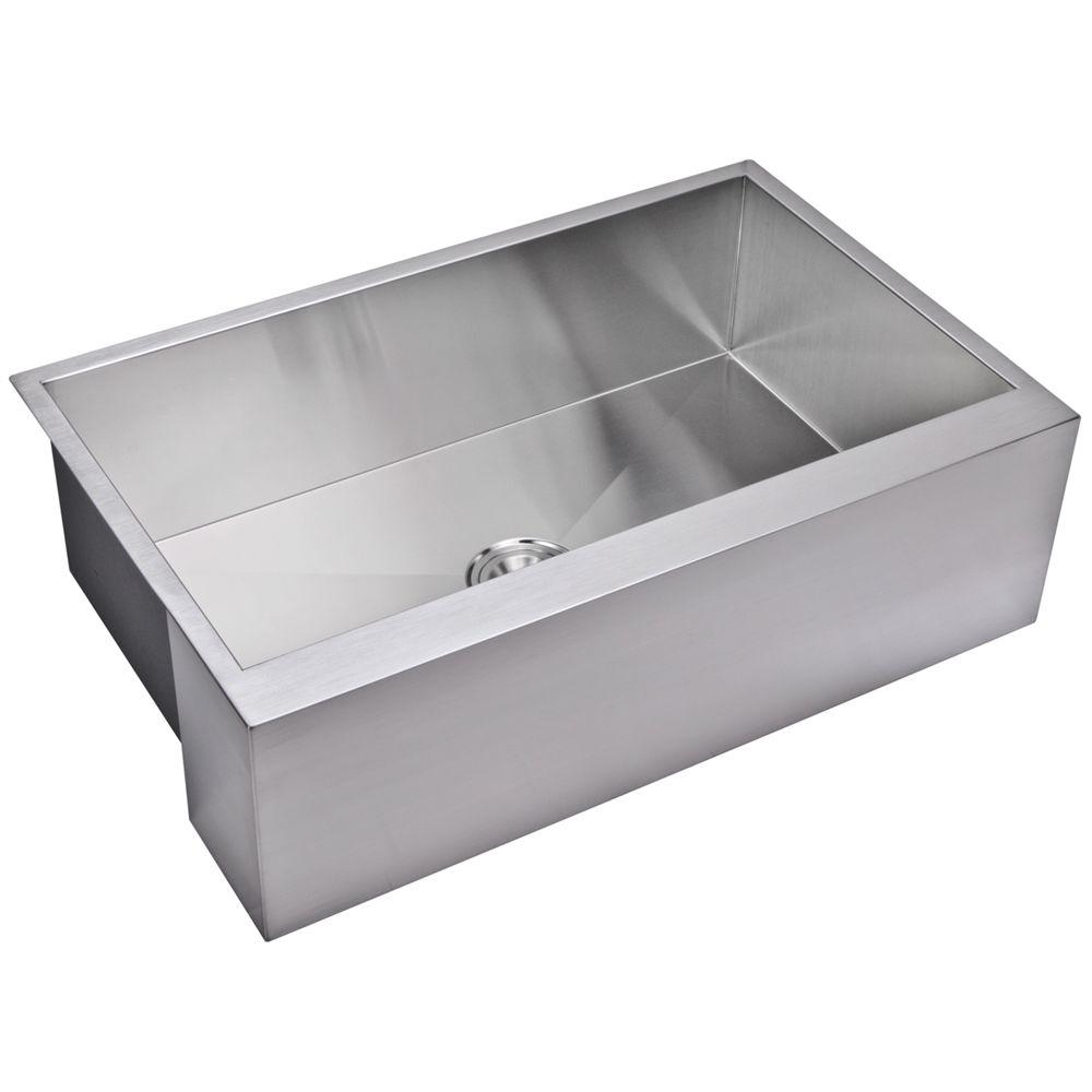 Water Creation Farmhouse Apron Front Zero Radius Stainless Steel 33 in. Single Bowl Kitchen Sink in Satin, Premium Scratch Resistant Satin Finish